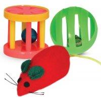 Triol XW0316 Набор игрушек для кошек (мяч, мышь, барабан)