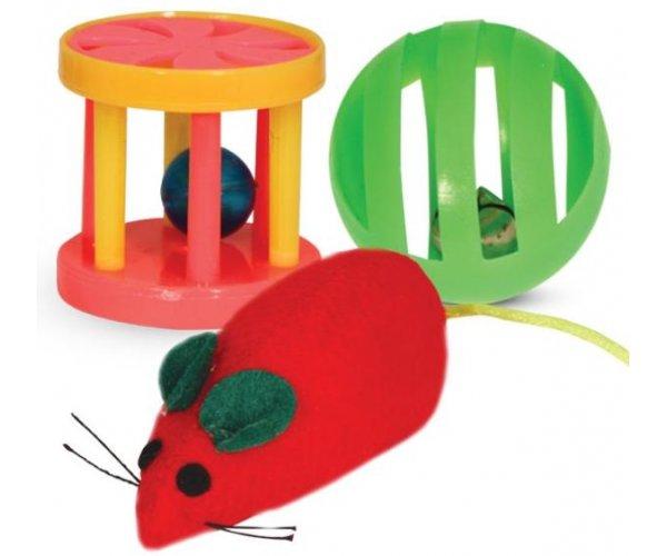 Triol XW0316 Набор игрушек для кошек (мяч, мышь, барабан) для кошек