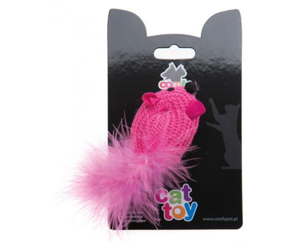 COMFY MINI Мышь розовая вязанная, 6 см для кошек