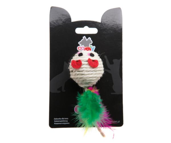 COMFY GAIA Мышка с перьями сизалевая, 5 см для кошек