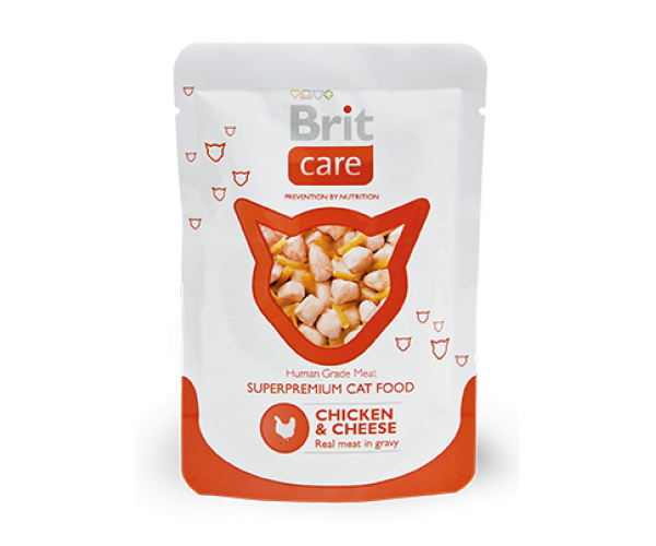 Brit Care Cat Chicken & Cheese Pouch, курица и сыр