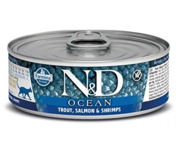 Консервы Farmina Cat Ocean Trout, Salmon & Shrimp, 80 г