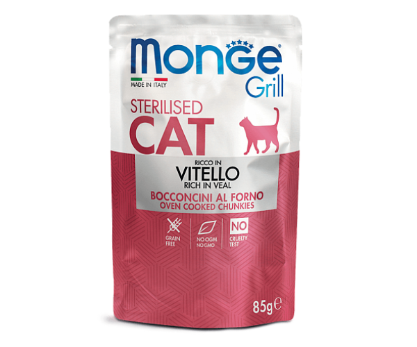Monge Cat Grill Pouch Adult Sterilised Veal