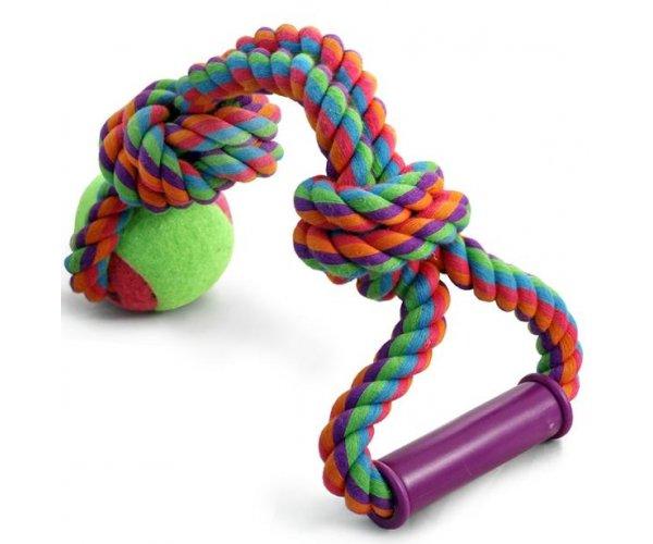 """Triol Игрушка для собак """"Веревка с ручкой, 2 узла и мяч"""" для собак"""