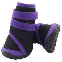 YXS136 Ботинки для собак черные с фиолетовым