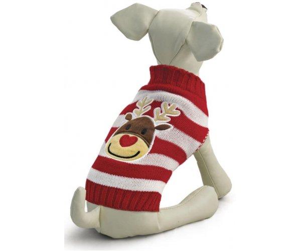 """Свитер """"Оленёнок"""", красно-белый для собак"""